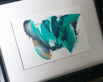 5x7in artwork, navy aqua gold, acrylic art, abstract art, painting, Modern art, contemporary design , nautical, ready to frame, decor