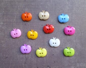 40 buttons shape Fruit large Apple mix colors