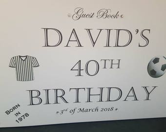 Personalised Birthday Guest Book - gardening, football, rugby and golf design. 40th 50th 60th 70th