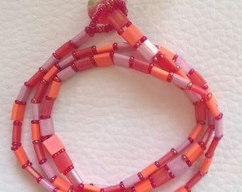 Bracelet wrap three wraps of tila beads and seed beads, warm tones