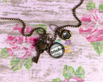 Bitchy Vintage Dictionary Charm Necklace