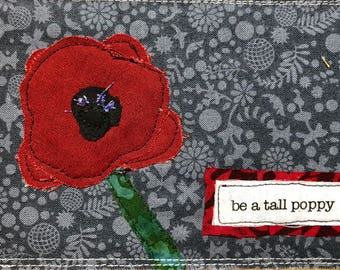 Quilted postcard - tall poppy
