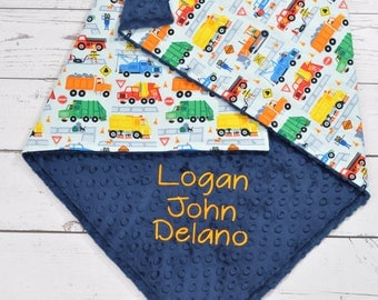 Personalized baby blanket-cars trucks police car minky baby blanket-fire engine baby blanket-cars Birth Stat Announcement baby blanket