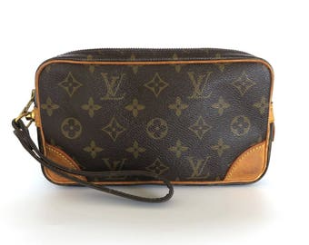 Authentic LOUIS VUITTON Monogram Canvas Leather Marly Dragonne PM Clutch Bag