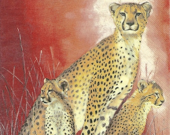 Decoupage Paper Napkins African Cheetah and Cubs (1x Napkin) - ideal for Decoupage, Collage, Mixed Media, Crafts