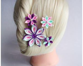 Hair comb with pink, purple and green kanzashi flowers/Satin hair accessory/Kanzashi head piece/Wedding hair comb