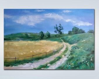 Oil Painting Landscape, Large Canvas Art, Landscape Art Painting, Dining Room Wall Art, Large Landscape Painting, Palette Knife Art