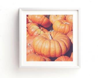 autumn decor, pumpkin photograph, Halloween print, Thanksgiving print, orange fall decor, instant download, pumpkin printables, rustic art