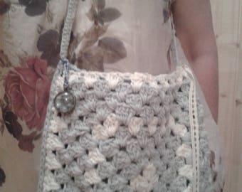 "pretty shoulder bag handbag gray and white ""cotton"" handmade crochet granny"