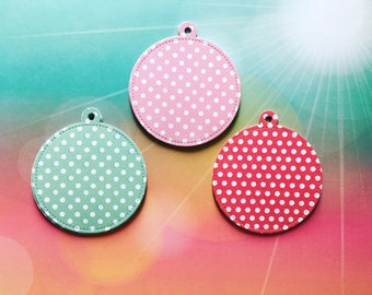 X6 Large Stitched Spotted Circle Gift Tags (3 colours available) * Pink * Green * Red