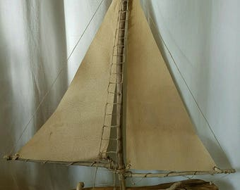 Driftwood boat and sail cowhide leather
