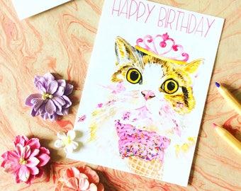 Happy Birthday Postcard, Cat Print Postcard