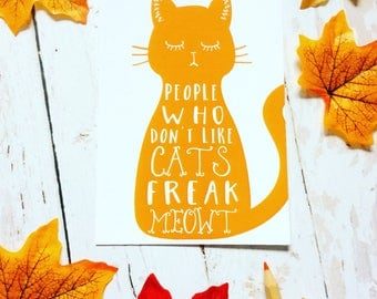 Cat Print Postcard, Funny Cat Lover Gift, Quote Postcard