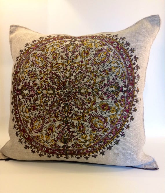 "linen pillow cover| with traditional block printed mandala design|decorative cushions|linen pillowcase 16""x16""