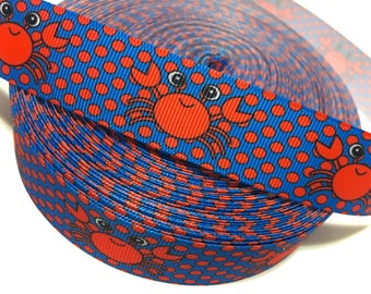 "1"" Crabs Ribbon, Crabs Grosgrain Ribbon, Seafood Ribbon, Seafood Grosgrain ribbon"