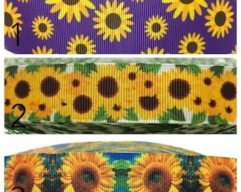 Sunflower Ribbon Sunflower Grosgrain Ribbon Flowers Ribbon Yellow Flowers Ribbon