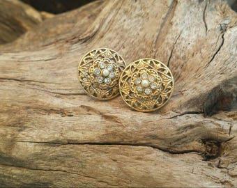 Vintage gold tone earrings/wedding earrings/bridal earrings/vintage earrings/vintage jewelry/wedding jewelry/bridal jewelry/gifts for her