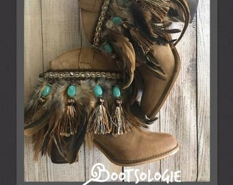 IN STOCK Decorated ankle boot, festival boot, feather boot, bootie. Reworked boot. Leather boot, suede. Size 7.5M