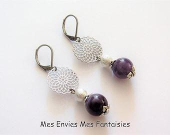 Earrings Amethyst ღ print rosette and stardust beads