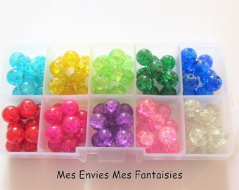 box 100 10mm 10 colors 1 cracked glass beads