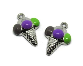 """2 charms """"ice cream / sherbet"""" silver and purple / green / grey 30 x 20mm"""