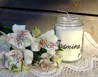 Jasmine jar candle. Handpainted candle. Upcycled jar. Jasmine candle.  Handmade candle. Vegan candle. Flower candle. Organic candle. Eco