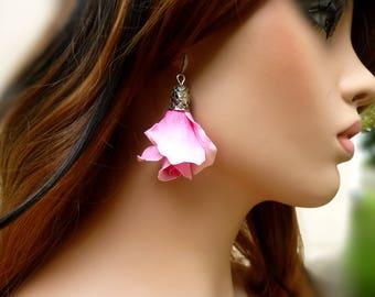 Flower earrings Rose earrings Long earrings Unique earrings Clay jewelry Large earrings Pink rose earrings