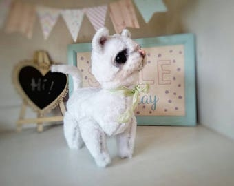 Ooak handmade artist teddy cat,posable white kitten plush,kawaii cute cat,pet portrait,cat memorial