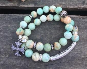 Beaded Stretch Amazonite Bracelet/Shabby Chic Stretch Bracelet/Boho CZ Pave Bead Bracelet/Boho Amazonite Big Bead/Big Bead Stretch