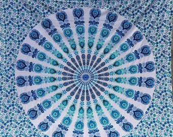 Mandala fabric - Colors include blue and more  Tapestry Bohemian Boho