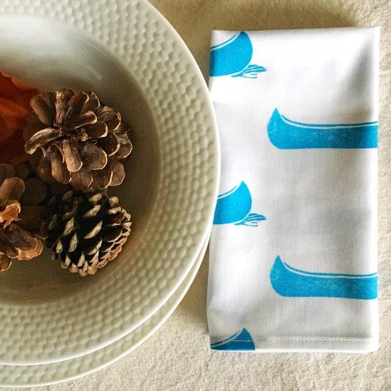 Cloth dinner napkins ORGANIC cotton napkin set of four, turquoise canoes cottage chic table linens lakehouse decor housewarming