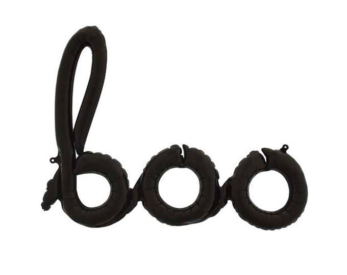 Boo Word Balloon in black script. Halloween Balloon. Black Halloween Script Boo Balloon. Halloween Party Decoration. Surprise Party Decor.