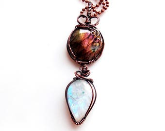 purple labradorite and rainbow moonstone pendant-wire wrap-copper wrap-handmade jewelry-wire wrapped jewelry-boho-Melissa Wood Jewelry