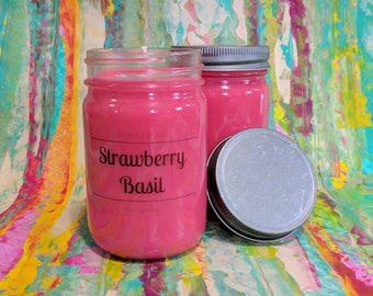Strawberry Basil | handpoured soy candle