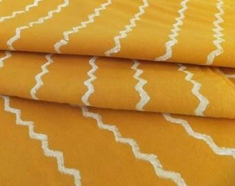 Hand Block Printed Yellow Cotton Fabric