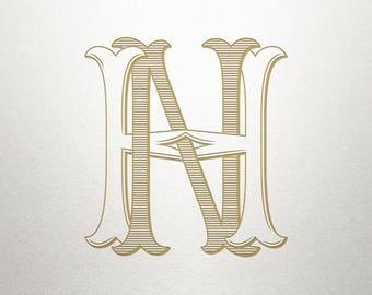 Vintage Digital Monogram - HN NH - Digital Monogram - Handcrafted