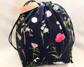 PRE-ORDER - Falling Gardens- black - Project Bag for Knitting - Sweater Size, 5-6 skeins