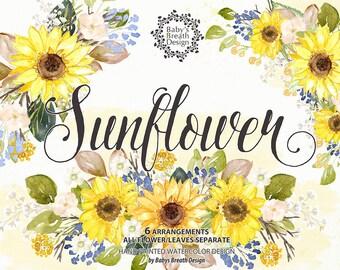 Watercolor Sunflower Garden Flower Clip Art Hand Drawn Flowers