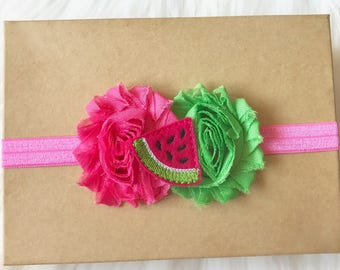 Watermelon Headband, Summer Headband, Baby Headband, Baby Girl Headband, Newborn Headband, Infant Headband, Girl Headband, Watermelon Bow