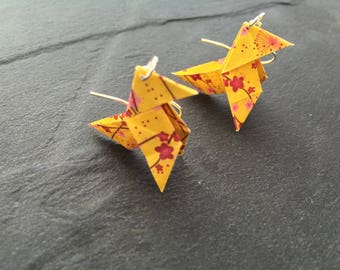 Earrings Cocote Origami flowers - yellow silver