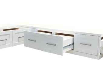 Banquette Corner bench, kitchen seating, L shaped bench, breakfast nook, storage drawers FREE SHIPPING...!!!
