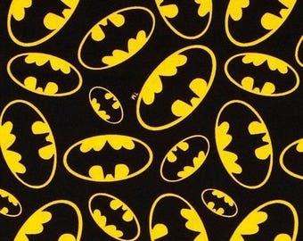 "End of Bolt, Batman Emblems Cotton Fabric from David Textiles, Superhero, DC Comics 35""x44"""