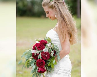 4/ Ivory Lace and Satin Ruffle / Wedding Dress / Rhinestone Empire Waist / Lace & Ruffle Gown / 4 / Chapel Train / Gorgeous / antique