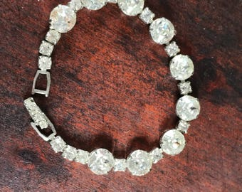 VINTAGE WEISS RHINESTONE Bracelet, Large Stones, Beautiful Condition, Wedding, Prom, Special Occasion, Clear Rhinestones