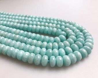 """Rondeau pierres précieuses perles Amazonite naturel pour fabrication 15,5"""" brin Wholesaler.Size 4x6mm/5x8mm/6x10mm de bijoux"""