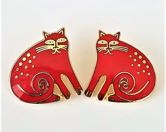 Laurel Burch Vintage Red Keshire Cat Post Earrings