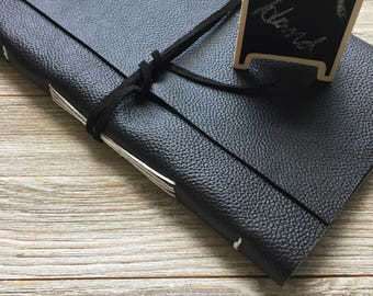 Personalized leather Journal, Black, FREE personalization, hand stitched, lined or plain paper