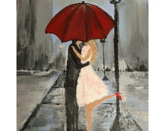 Gift For Her Red Umbrella Print Couple In Love Girlfriend