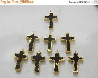 on sale 80% Discount Lava Stone Christian Cross Pendant With Electroplated Gold Edge Charms Wholesale Price Handmade 1 pec Size 15x25 MM App