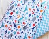 Riley-Blake-Designs-White-Shark-Town-Aqua- Blue-Waves-Chevron-Cotton-Fabric-By-The-Yard-Bundle-Options
